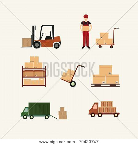 Warehouse transportation and delivery icons flat set isolated vector