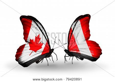 Two Butterflies With Flags On Wings As Symbol Of Relations Canada And Peru
