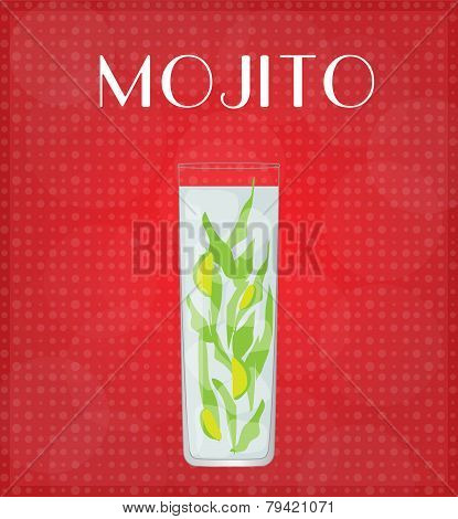 Drinks List Mojito With Red Background
