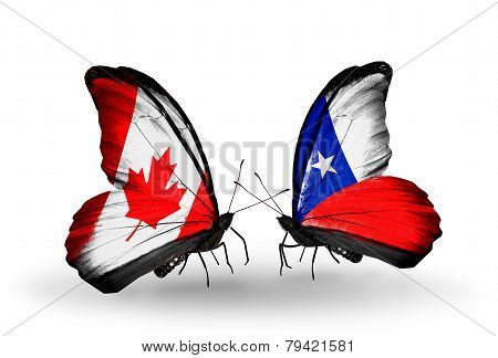 Two Butterflies With Flags On Wings As Symbol Of Relations Canada And Chile