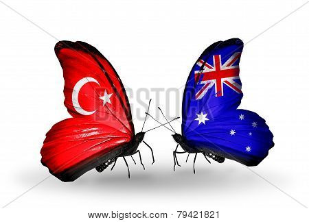 Two Butterflies With Flags On Wings As Symbol Of Relations Turkey And Australia