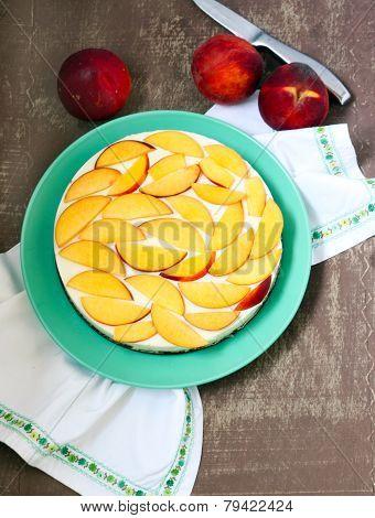 Yogurt Mousse Peach Cake