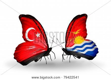 Two Butterflies With Flags On Wings As Symbol Of Relations Turkey And Kiribati