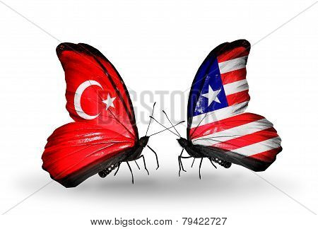 Two Butterflies With Flags On Wings As Symbol Of Relations Turkey And Liberia