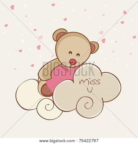 Happy Valentine's Day celebration with cute teddy bear holding a pink heart and saying Miss U.