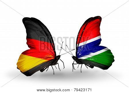 Two Butterflies With Flags On Wings As Symbol Of Relations Germany And Gambia