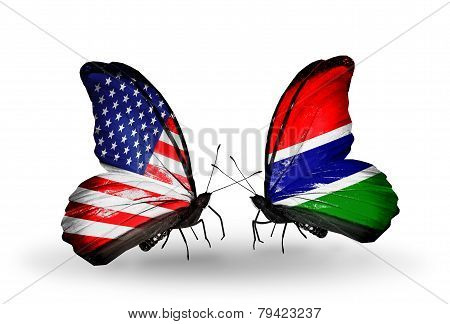 Two Butterflies With Flags On Wings As Symbol Of Relations Usa And Gambia