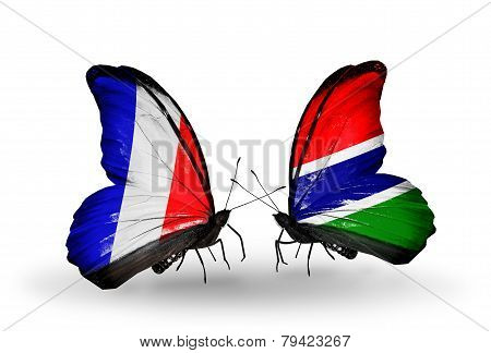 Two Butterflies With Flags On Wings As Symbol Of Relations France And Gambia