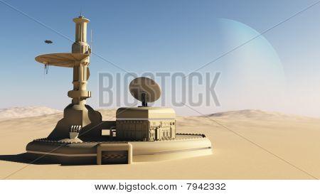 Futuristic Sci-Fi desert outpost building