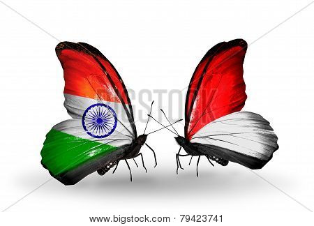 Two Butterflies With Flags On Wings As Symbol Of Relations India And Monaco, Indonesia