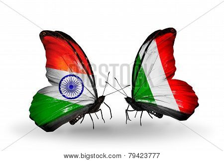 Two Butterflies With Flags On Wings As Symbol Of Relations India And  Italy