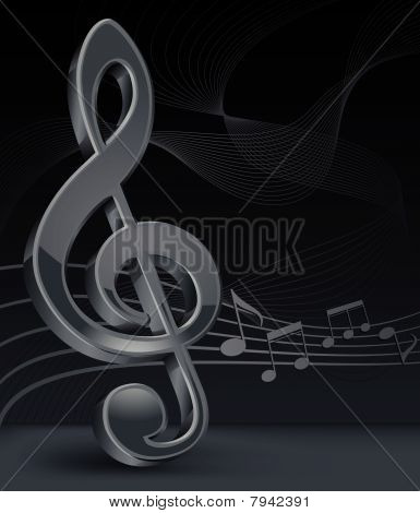 Grey treble clef on black