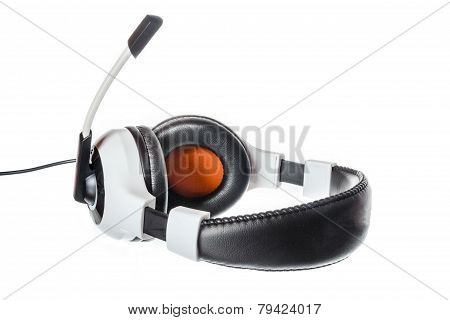 Computer Headphones With Microphone Side View Isolated On White