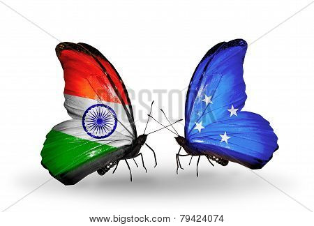 Two Butterflies With Flags On Wings As Symbol Of Relations India And Micronesia