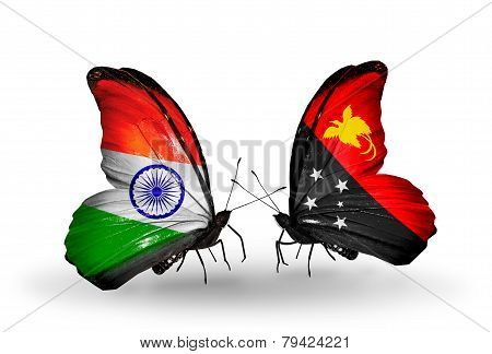 Two Butterflies With Flags On Wings As Symbol Of Relations India And Papua New Guinea