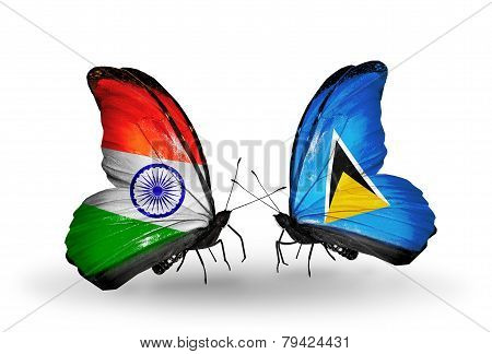 Two Butterflies With Flags On Wings As Symbol Of Relations India And Saint Lucia