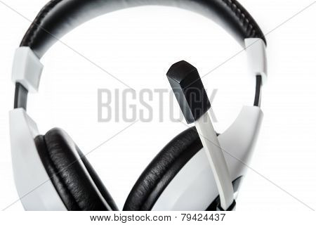 Headphones With Focus On Microphone Side View Isolated On White