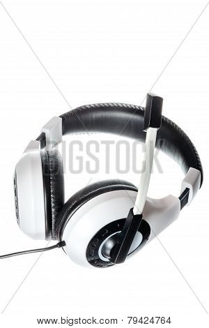 Pc Headphones With Microphone Side View Isolated On White
