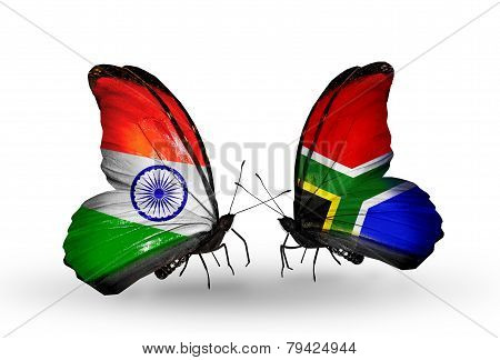Two Butterflies With Flags On Wings As Symbol Of Relations India And South Africa