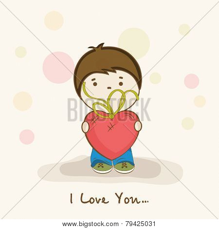 Cute little boy holding red heart shape balloon with text I Love You for Happy Valentine's Day celebration.
