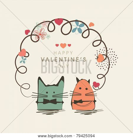 Happy Valentine's Day celebration concept with kiddish cartoon and floral design on white background.