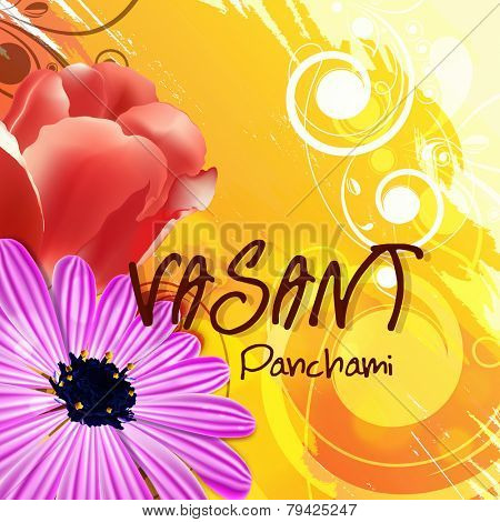 Beautiful greeting card design with shiny flowers on floral decorated background for Vasant Panchami celebration.