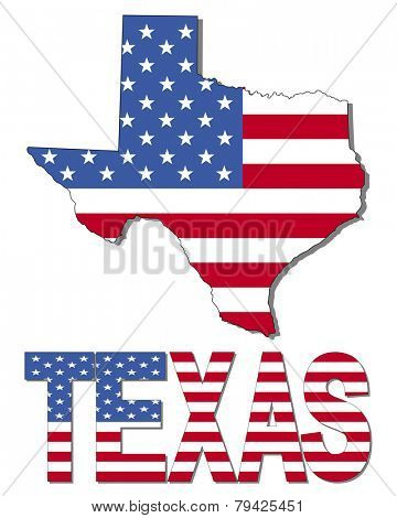 Texas map flag and text illustration