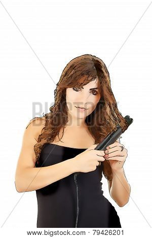 Silhouette Of Young Woman With Hair Straightener