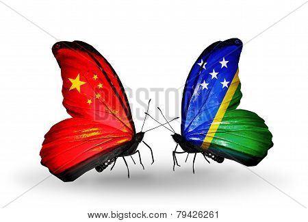 Two Butterflies With Flags On Wings As Symbol Of Relations China And Solomon Islands