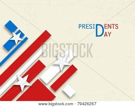 Happy Presidents Day celebration with United State of American flag design on white background.