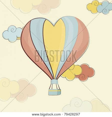 Heart shape colorful hot air balloon flying on cloudy background for Happy Valentine's Day celebration.