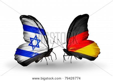 Two Butterflies With Flags On Wings As Symbol Of Relations Israel And Germany