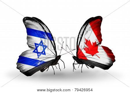 Two Butterflies With Flags On Wings As Symbol Of Relations Israel And Canada