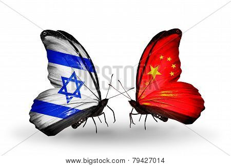 Two Butterflies With Flags On Wings As Symbol Of Relations Israel And China