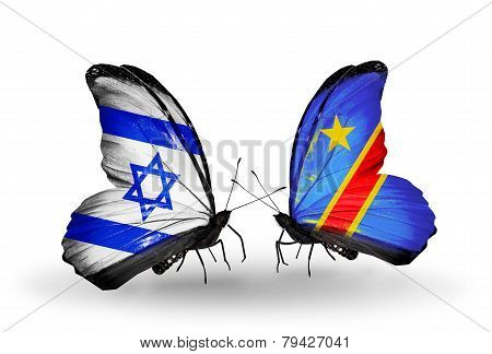 Two Butterflies With Flags On Wings As Symbol Of Relations Israel And Kongo