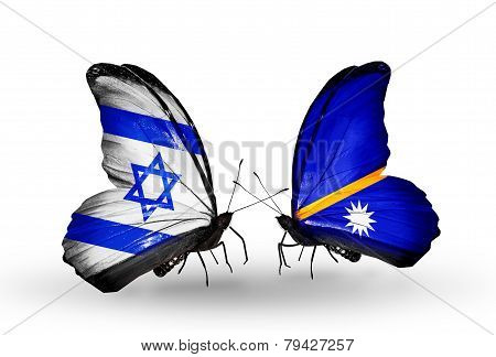 Two Butterflies With Flags On Wings As Symbol Of Relations Israel And Nauru