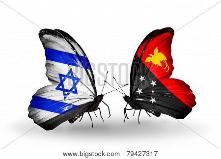 Two Butterflies With Flags On Wings As Symbol Of Relations Israel And Papua New Guinea