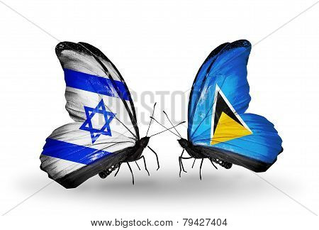 Two Butterflies With Flags On Wings As Symbol Of Relations Israel And  Saint Lucia