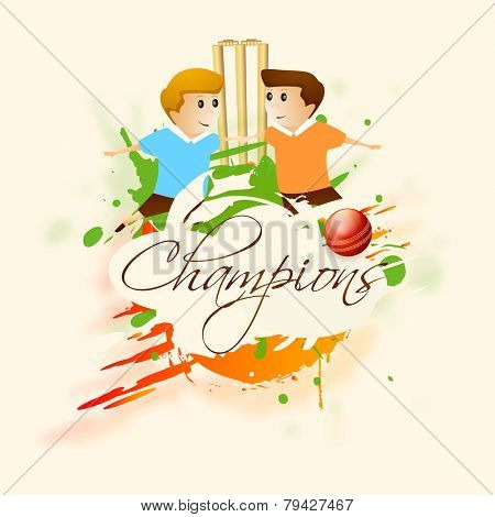Cute little kids with wicket stumps, red ball and text Champions on color splash background.
