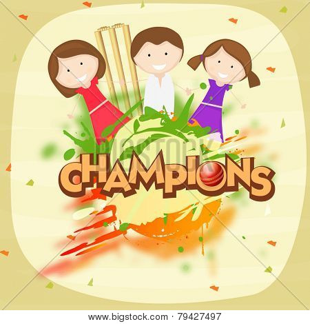 Cute little girls holding hands together with red ball, wicket stumps and text Champions  for Cricket on stylish color splash background.