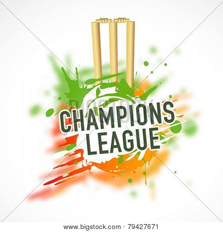 Cricket sports concept with wicket stumps, bails and text Champions League on color splash background.