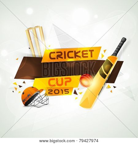 Cricket Cup 2015 concept with bat, ball helmet and wicket stumps on stylish background.