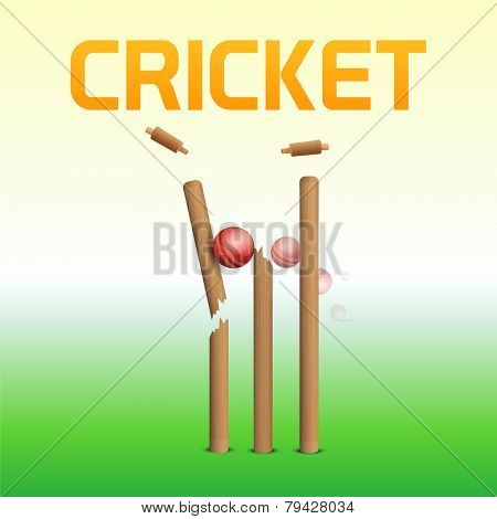 Cracked wicket stumps by red ball for Cricket sports concept.