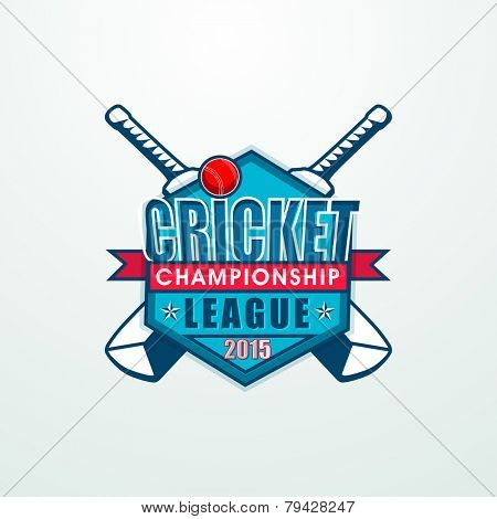 Stylish sticky design with bats and ball for Cricket Championship League 2015 concept.