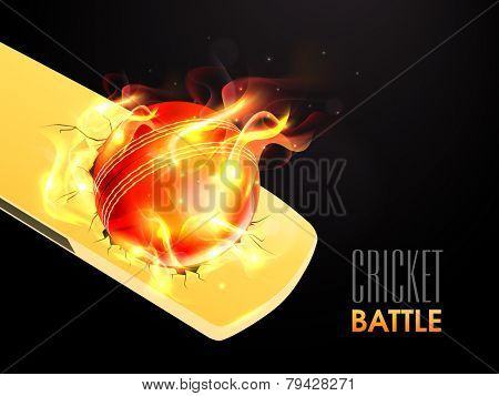 Hot red ball in flame on shiny bat for Cricket Battle.