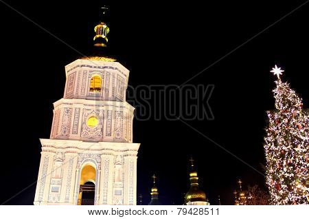 St. Sophia Cathedral And Main Kyiv's New Year Tree On Sophia Square In Kyiv, Ukraine