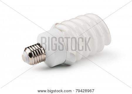 Energy saving fluorescent light bulb isolated on a white bakground