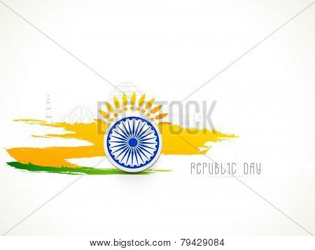 Indian Republic Day celebration with Ashoka Wheel and national flag colors paint stroke on famous monuments background.