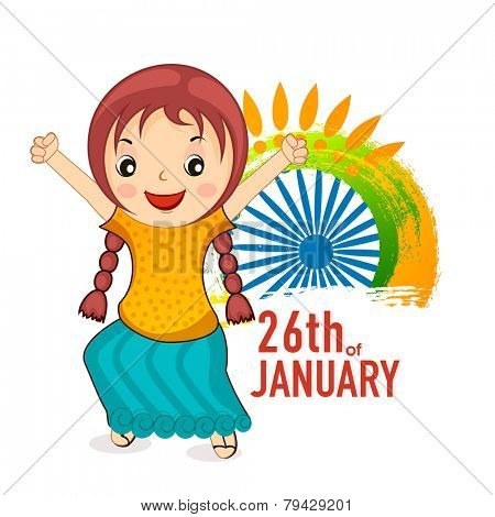 Cute little girl celebrating 26th of January, Indian Republic Day with Ashoka Wheel and floral design on white background.