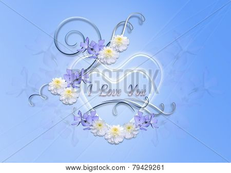 Transparent hearts with periwinkle blue and asters on a blue background